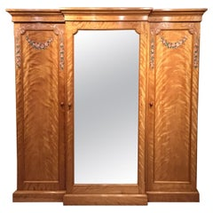 Victorian Period Satin Birch Breakfront Wardrobe