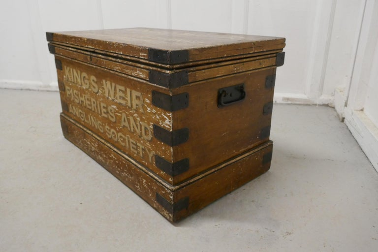 19th Century Victorian Pine Newham and Son's Fishermans Chest For Sale