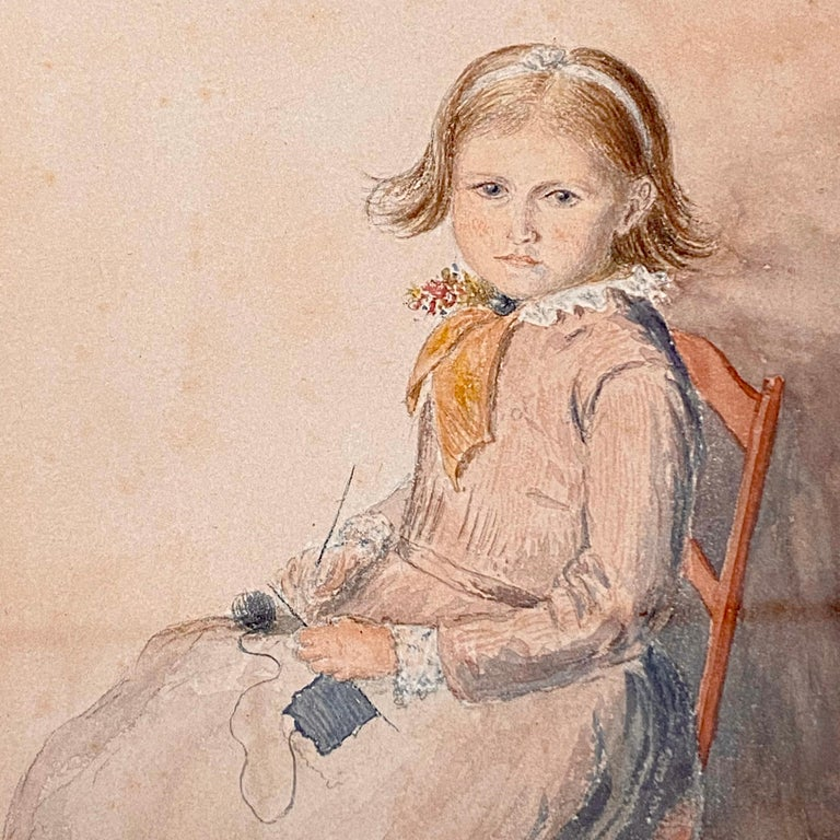 A very nice Victorian watercolor of a young child seated on a chair knitting. The face is especially well executed. Monogramed A H R and dated August 22nd 1888. Glazed and set in a nice ebonised and gilt frame. Apologies for the various lines and
