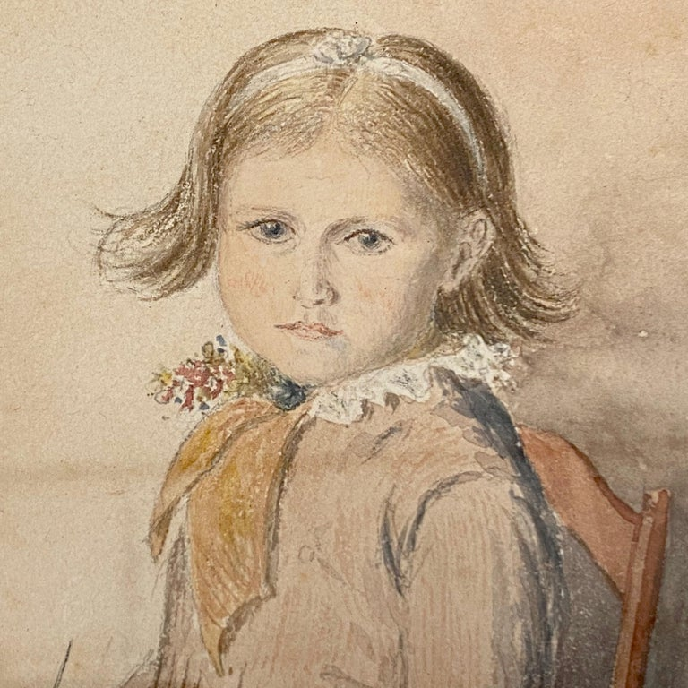 Wood Victorian Portrait of a Seated Young Girl Knitting