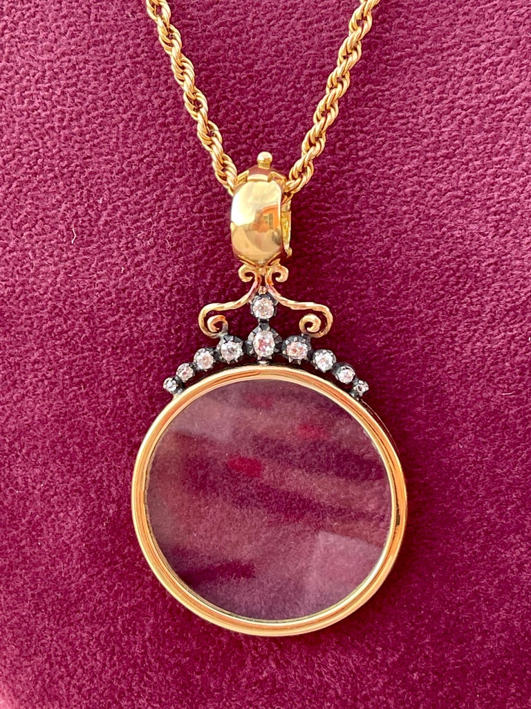 Victorian Monocle Magnifying Glass Diamonds Gold Pendant Necklace  For Sale 7