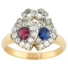 Victorian Ruby, Sapphire and Diamond Double Heart Ring