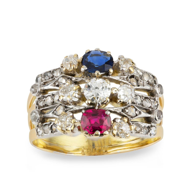 Victorian Ruby, Sapphire and Diamond Harem Ring In Good Condition For Sale In London, GB