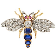 Victorian Sapphire and Diamond Bee Brooch