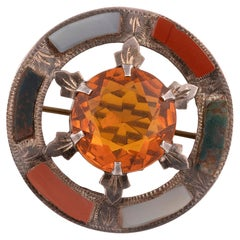 Victorian Scottish Citrine And Agate Brooch