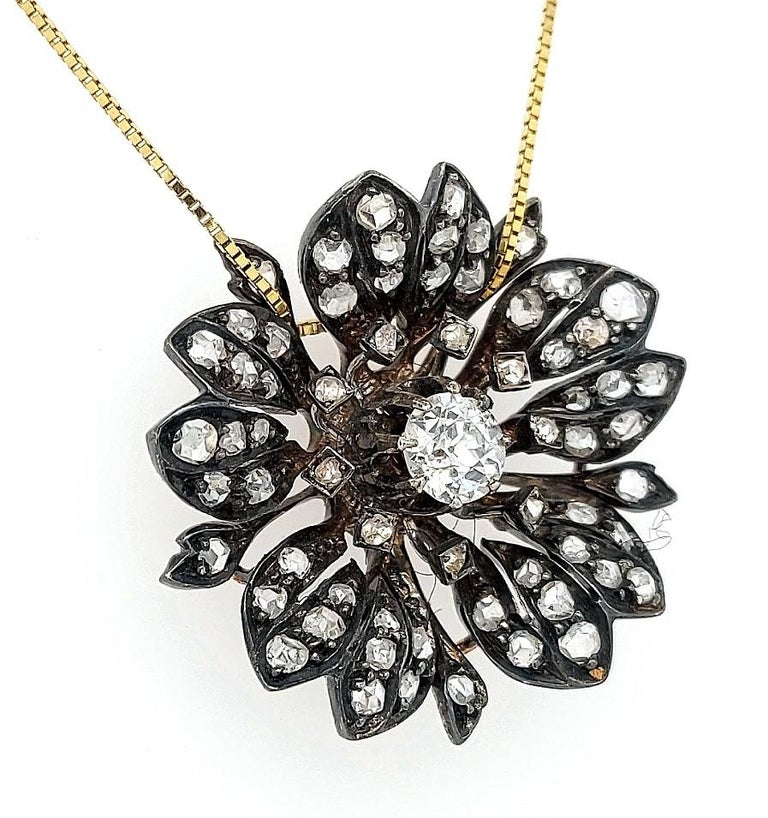 Victorian Silver on Gold Diamond Flower Brooch or Pendant, circa 1860 For Sale 6