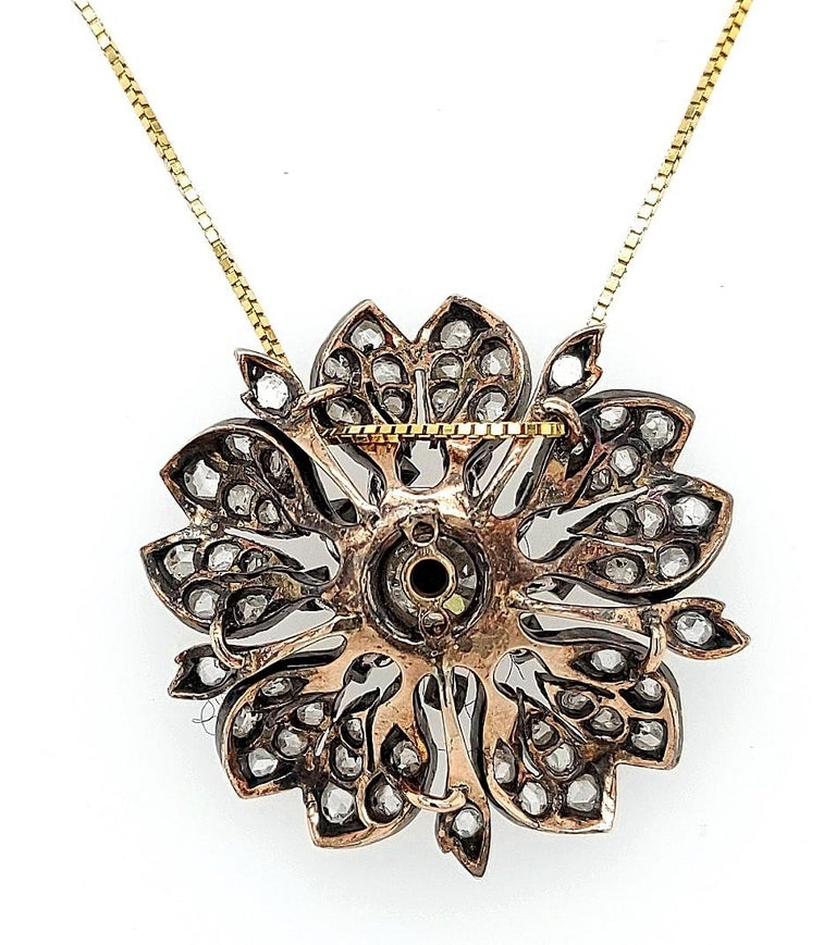 Victorian Silver on Gold Diamond Flower Brooch or Pendant, circa 1860 For Sale 7