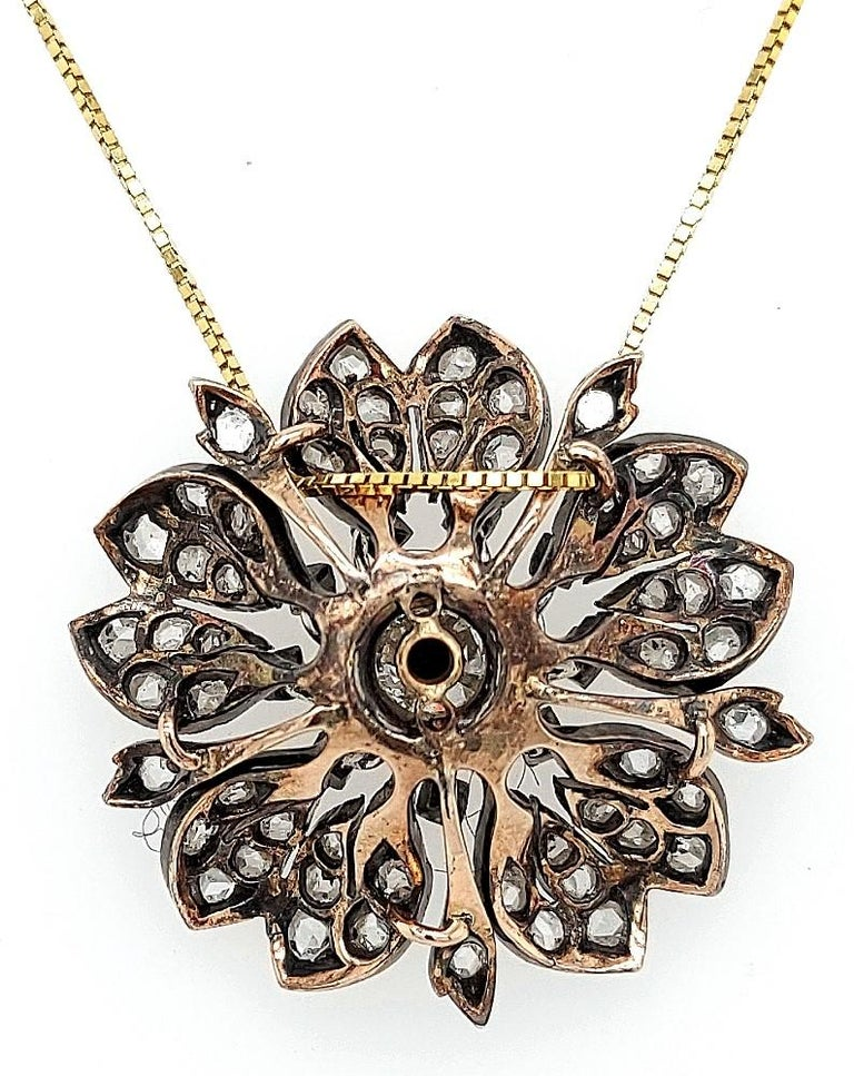 Victorian Silver on Gold Diamond Flower Brooch or Pendant, circa 1860 For Sale 8