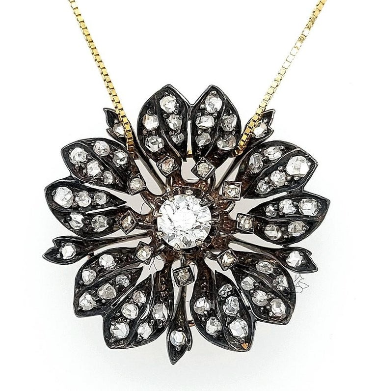 Victorian Silver on Gold Diamond Flower Brooch or Pendant, circa 1860 For Sale 9