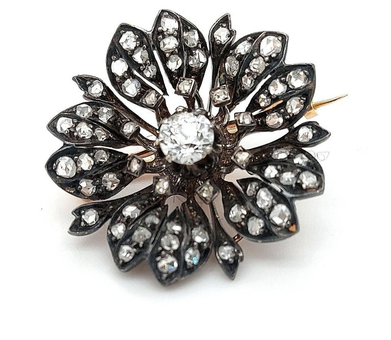Victorian Silver on Gold Diamond Flower Brooch or Pendant, circa 1860 For Sale 11