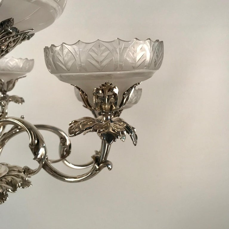 Victorian Silvered Bronze Centrepiece/ Epergne For Sale 3