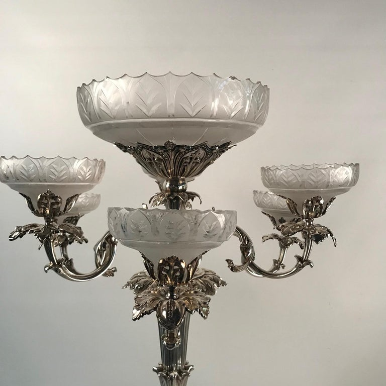 Victorian Silvered Bronze Centrepiece/ Epergne For Sale 4