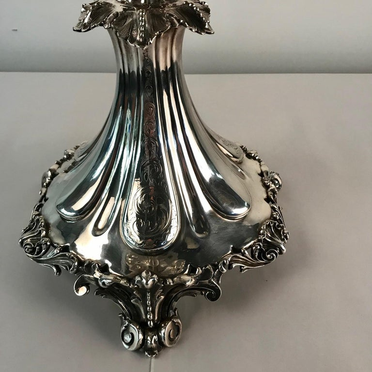 Victorian Silvered Bronze Centrepiece/ Epergne For Sale 9