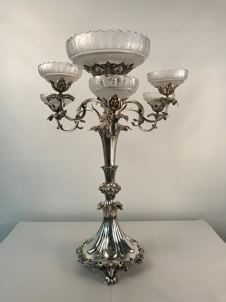English Victorian Silvered Bronze Centrepiece/ Epergne For Sale