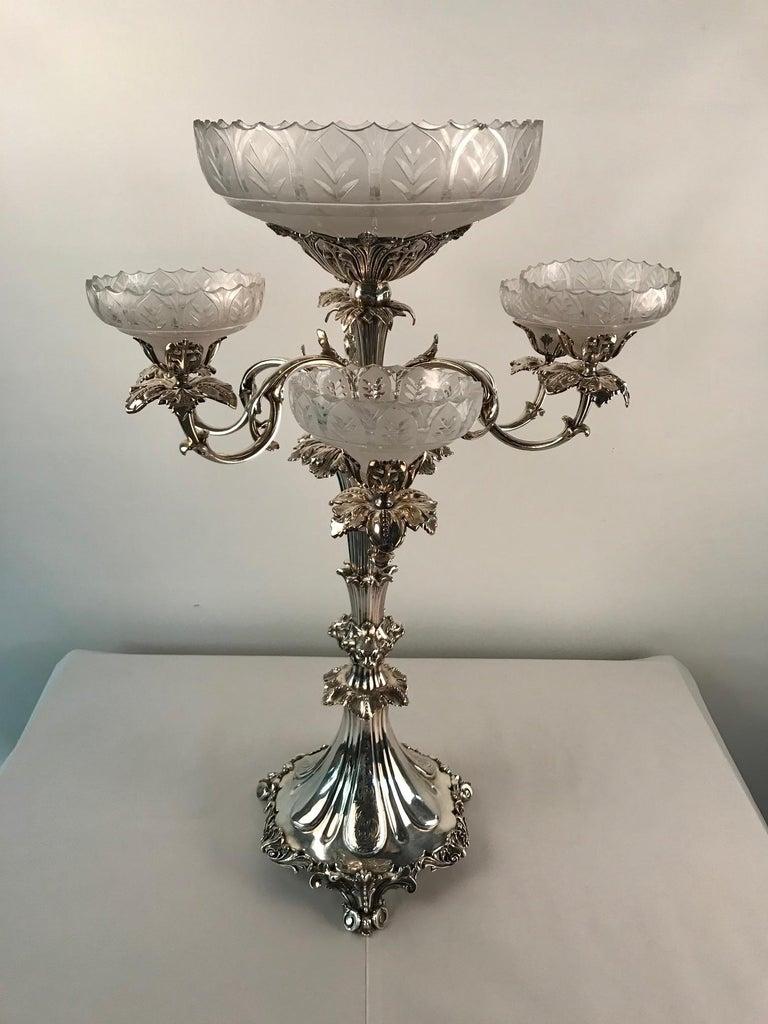 19th Century Victorian Silvered Bronze Centrepiece/ Epergne For Sale