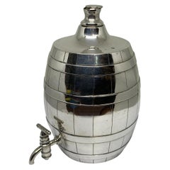 Victorian Solid Silver Whiskey Barrel with Spigot Tap