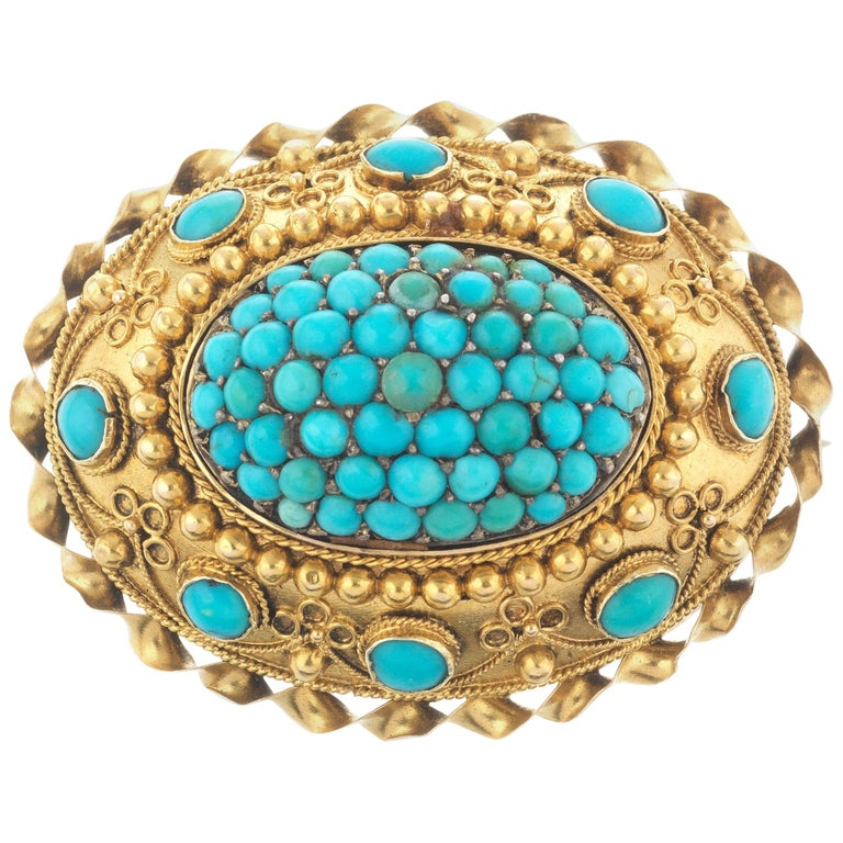 Victorian Turquoise Brooch For Sale