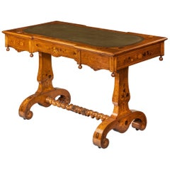 Victorian Walnut Marquetry Writing Table Attributed to Edward Holmes Baldock