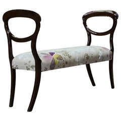 Victorian Window Bench, Balloon Ends, Decorative Upholstery and Sabre Legs.