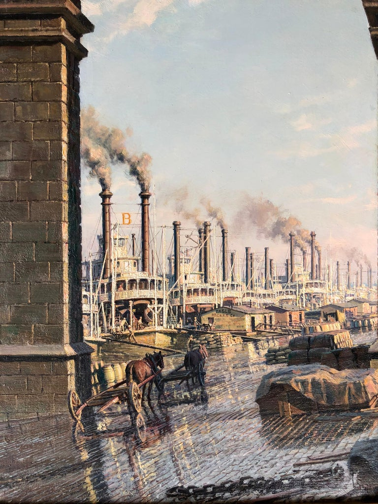 Signed and dated lower right.  Born in Leicester, England, John Stobart was the second son of a pharmacist and a mother who died giving birth to him.  Raised by his maternal grandmother and various housekeepers, he showed an early aptitude for