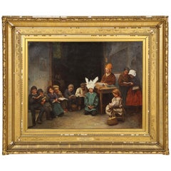 """A Village School"" American Oil on Canvas, Kids in Class, Constant Mayer, 1871"