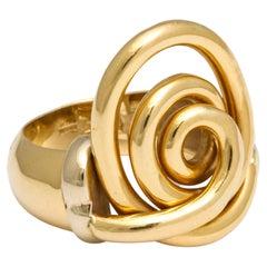 Vintage 18 Kt Spiral Swirl Fashion Ring