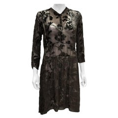 a vintage 1920s - 1930s black floral devore day dress small