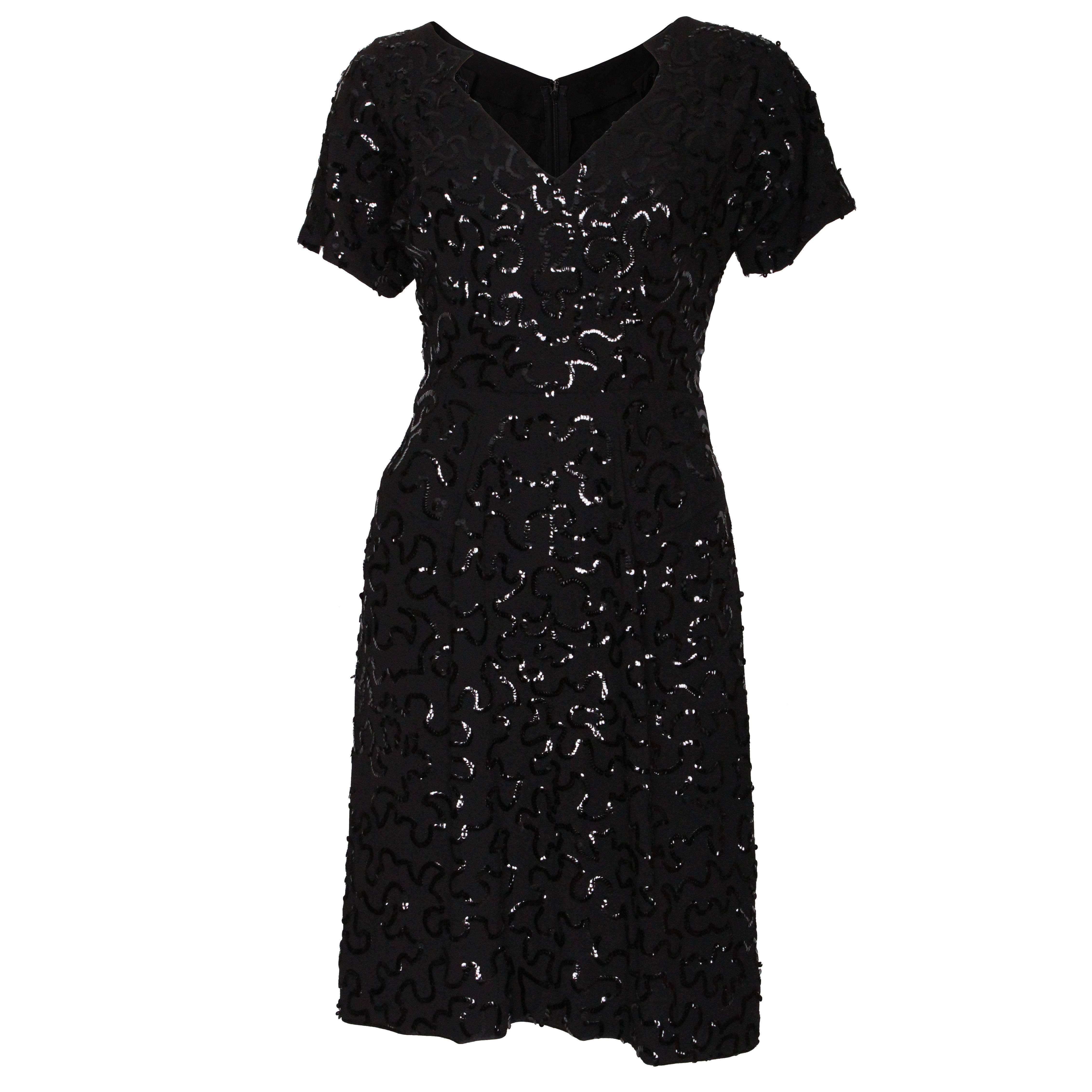 A Vintage 1940s Jeanne Paquin Sequin black Cocktail Dress