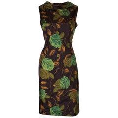 A Vintage 1950s floral printed wiggle shift dress