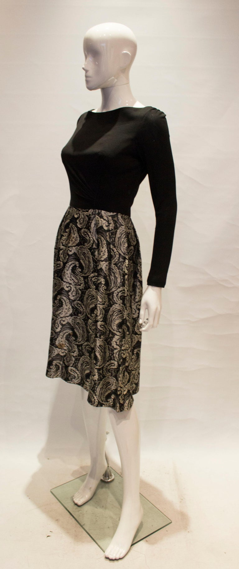 Black A vintage 1950s silver and black brocade party low back paisley dress small