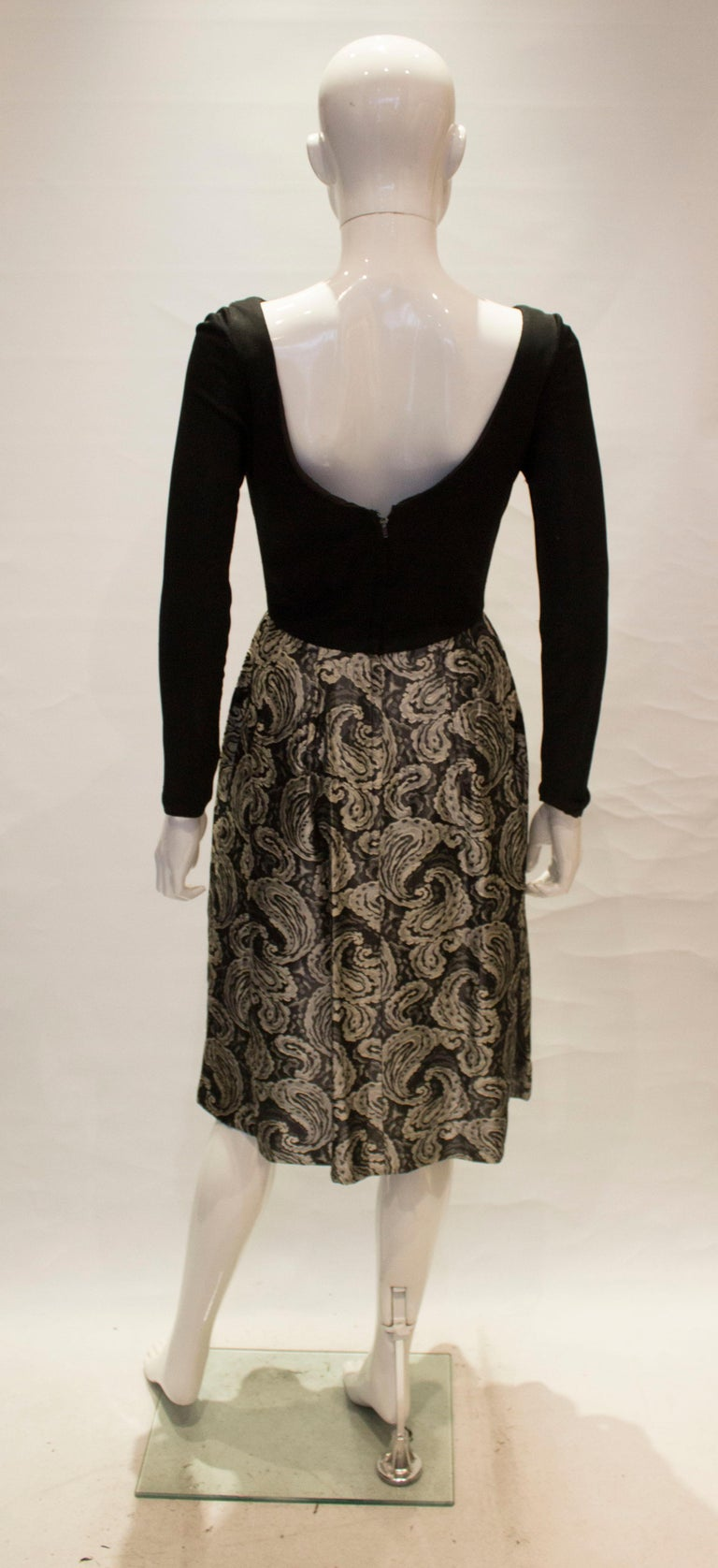 A vintage 1950s silver and black brocade party low back paisley dress small 2