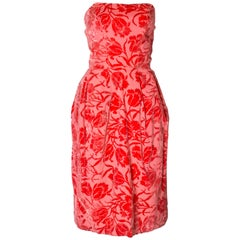 A Vintage 1950s Strapless Pink Devore Velvet Cocktail Dress
