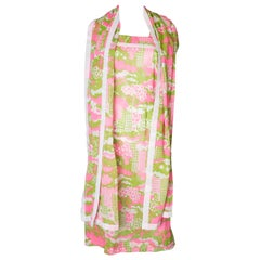 A Vintage 1960s Colourful  Print Sundress and Matching Scarf