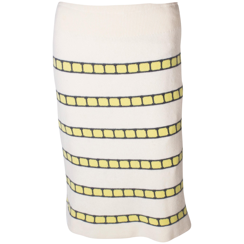 A vintage 1960s cream cashmere (made in scotland) stripe pencil skirt