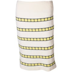 A vintage 1960s cream cashmere (made in scotland) stripe pencil skirt