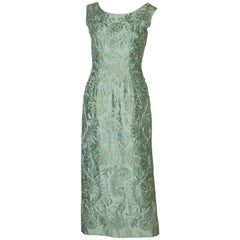 A Vintage 1960s Sage Green evening Gown with Ribbon Detail