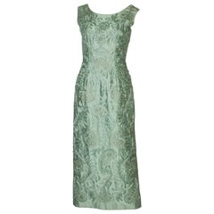 A Vintage 1960s Sage Green  Gown with Ribbon Detail