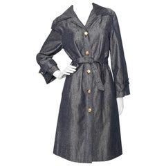 A Vintage 1970s Céline Denim Cotton Trench Coat S