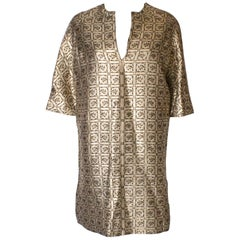 A Vintage 1970s Gold Brocade Tunic Dress  /Top