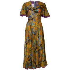 A Vintage 1970s Ross Bergo for Harrods Pleated Gown