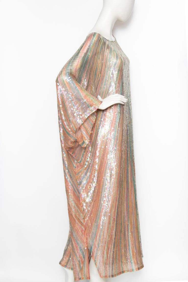 Brown A Vintage 1970s Sheer Sequin Halston Evening Dress  For Sale