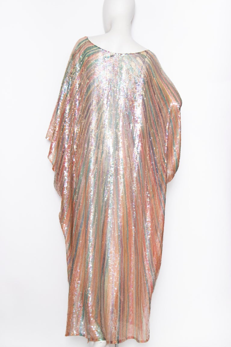 A Vintage 1970s Sheer Sequin Halston Evening Dress  In Fair Condition For Sale In Copenhagen, DK