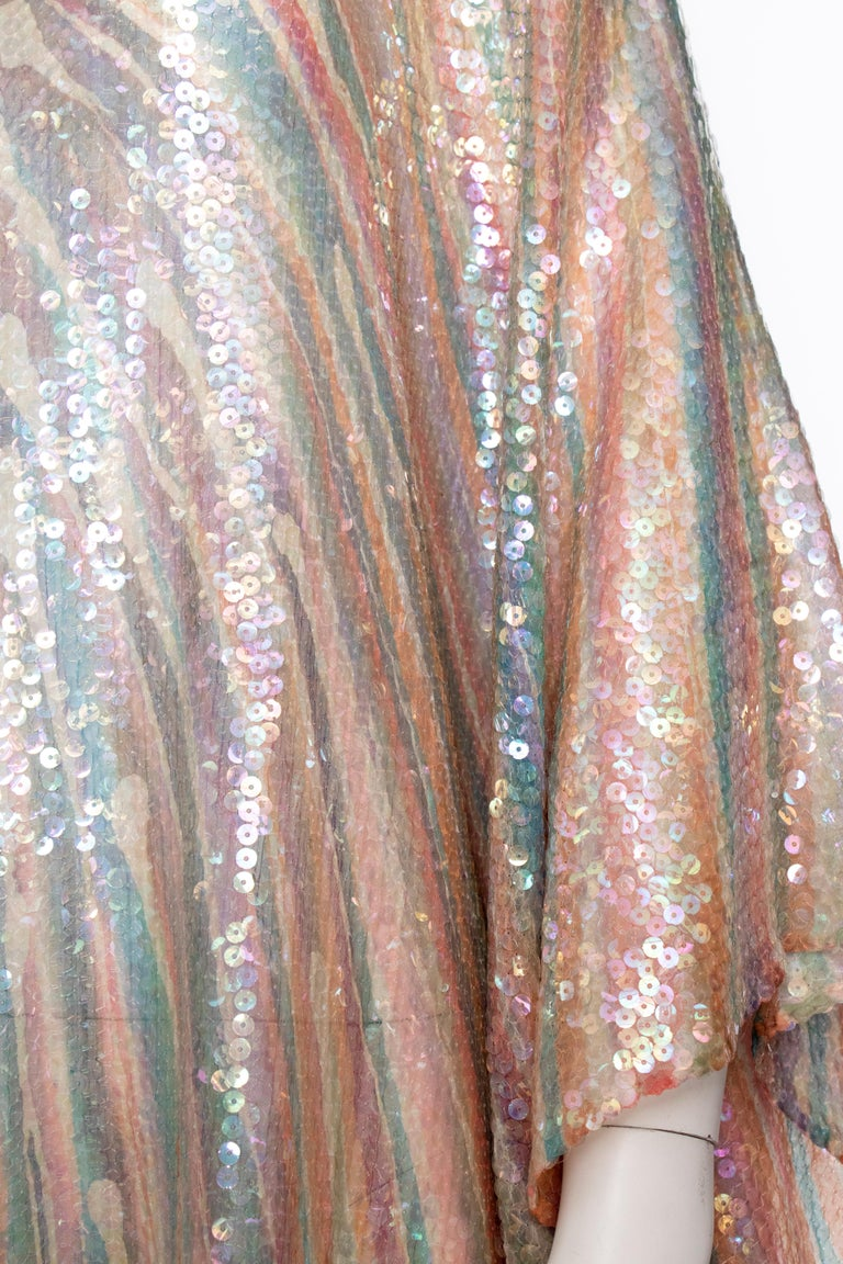 Women's or Men's A Vintage 1970s Sheer Sequin Halston Evening Dress  For Sale