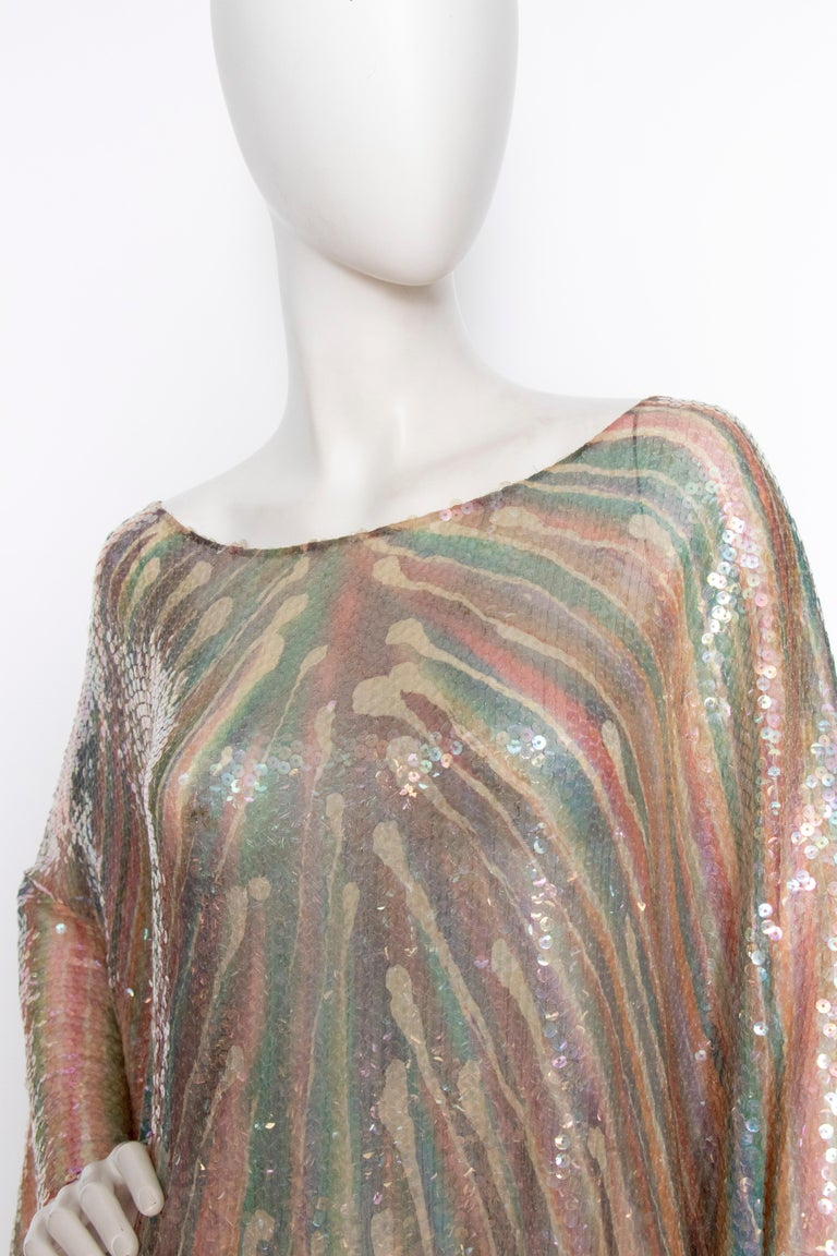 A Vintage 1970s Sheer Sequin Halston Evening Dress  For Sale 2