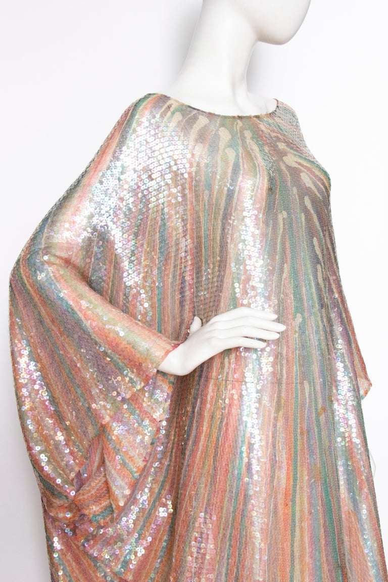 A Vintage 1970s Sheer Sequin Halston Evening Dress  For Sale 3