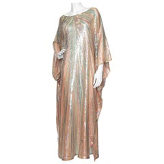 A Vintage 1970s Sheer Sequin Halston Evening Dress