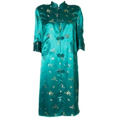 A Vintage 1970s Turquoise Chinese Coat with Stand-up Collar & Decorative Pockets