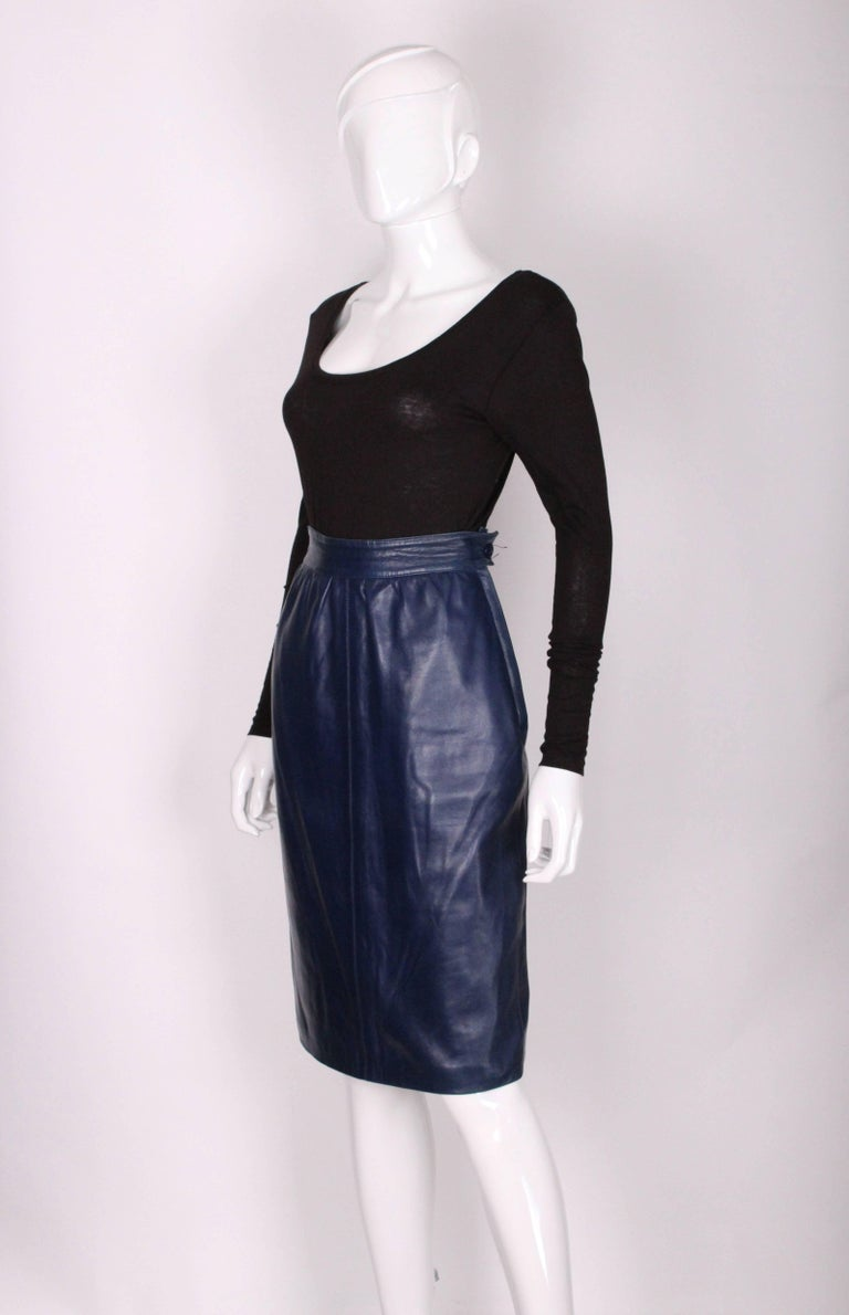 A vintage 1980s Blue Leather Skirt by Yves Saint Laurent Rive Gauche In Excellent Condition For Sale In London, GB