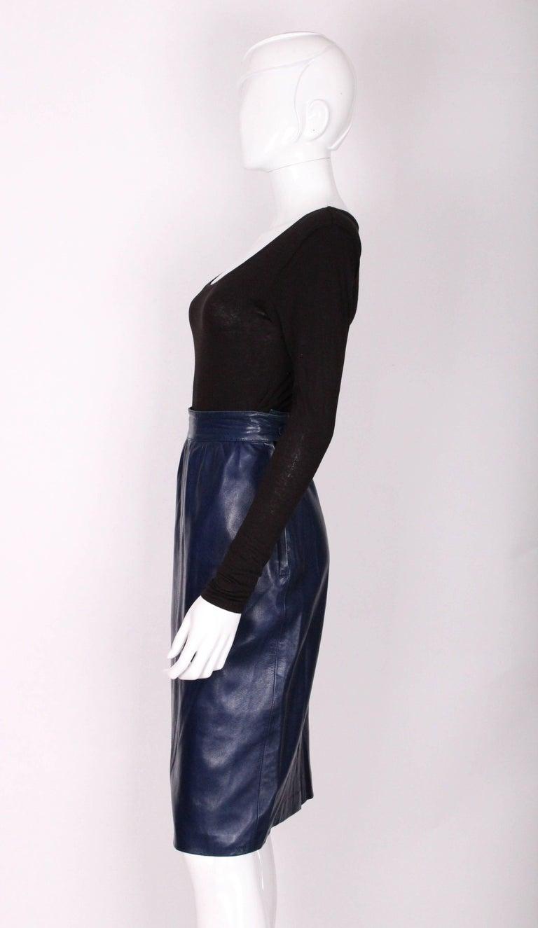 Women's A vintage 1980s Blue Leather Skirt by Yves Saint Laurent Rive Gauche For Sale