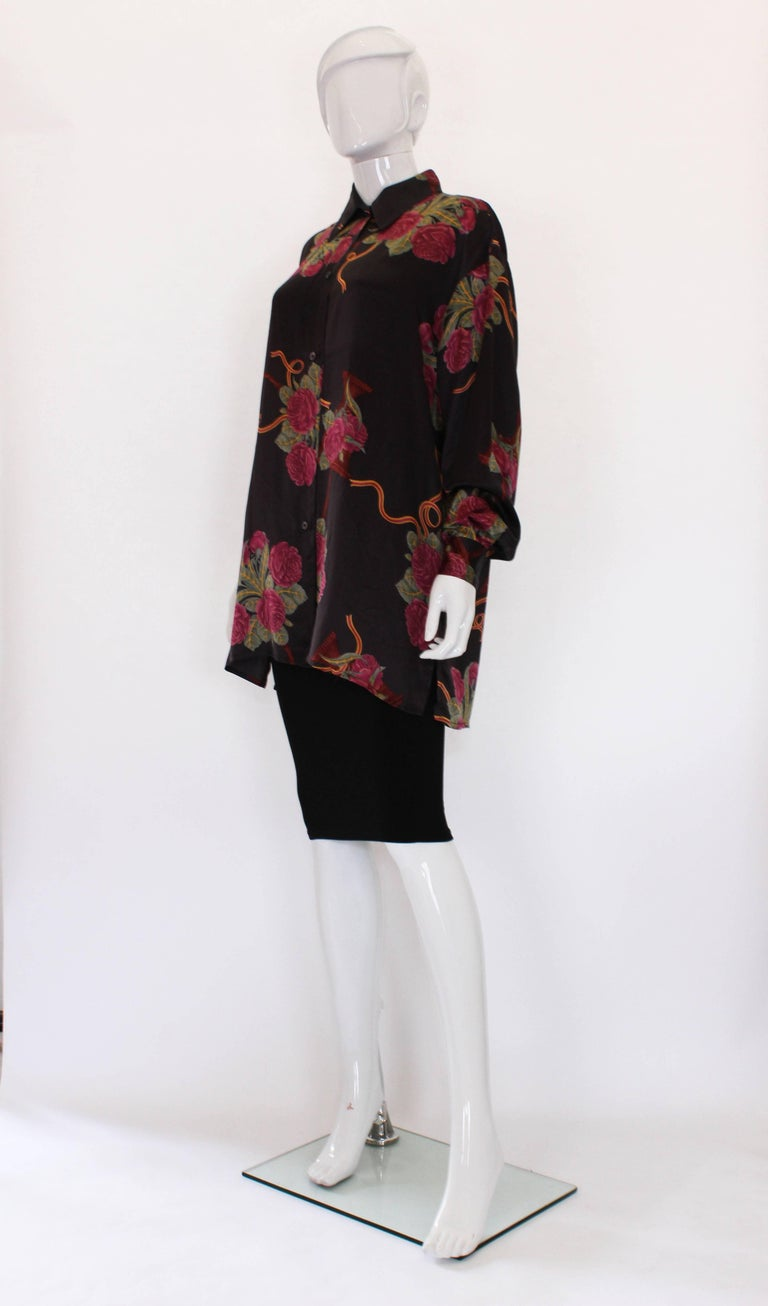 Black A vintage 1980s Silk floral printed Overshirt by Salvatore Ferragamo For Sale